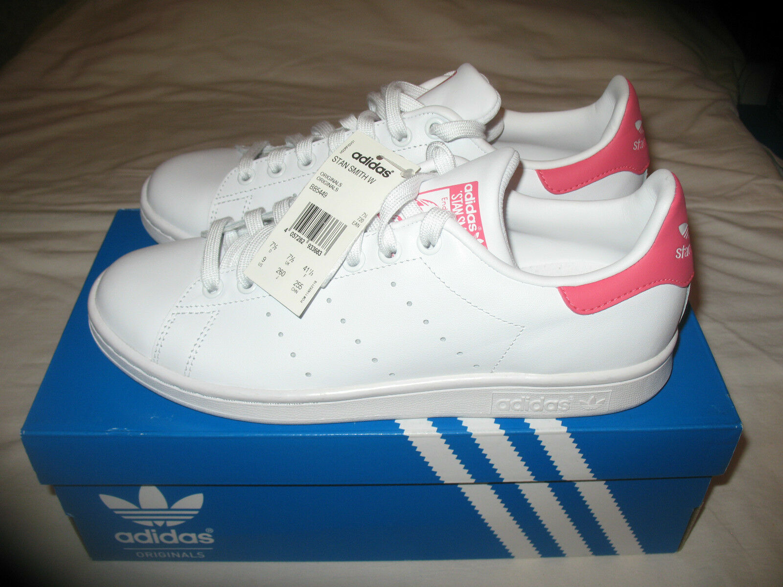 Neue adidas originals stan smith w Weiß / rosa uns 9,5 f 42 bb5449