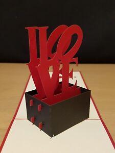 "Valentine/'s day, Engagement, Anniversary, Wedding.. 3D Pop Up /""I LOVE U/""  Card."