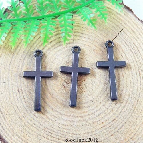 51226 Gun Black Alloy Tiny Cross Shape Pendants Charms Crafts Findings 80x