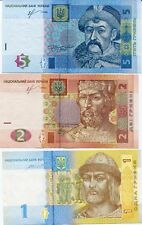 Ukraine - 1, 2 and 5 Hryvnia - set of 3 UNC currency notes