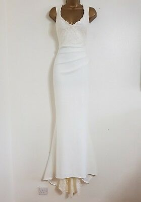 New Debenhams White Ivory Lace Sequin Train Fishtail Bridal Wedding Dress Maxi