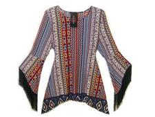NEW ~ Vintage Fringe ~ Black Multi Soft Stretch Knit Bell Sleeves Top Size XL