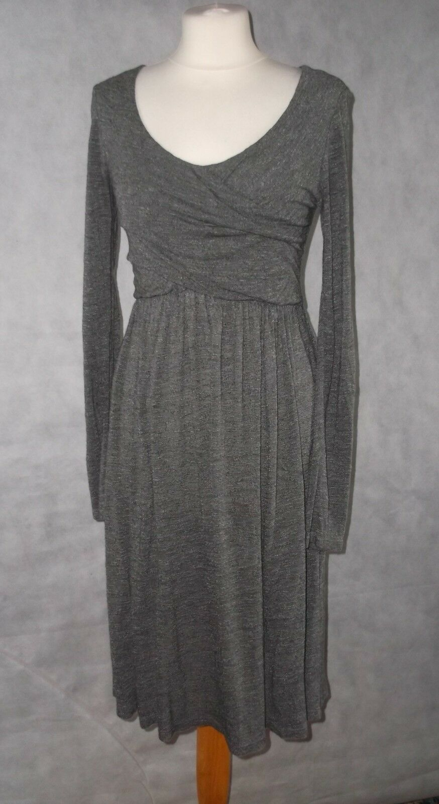 Pretty light grey melange draped light jersey dress PHASE EIGHT 10