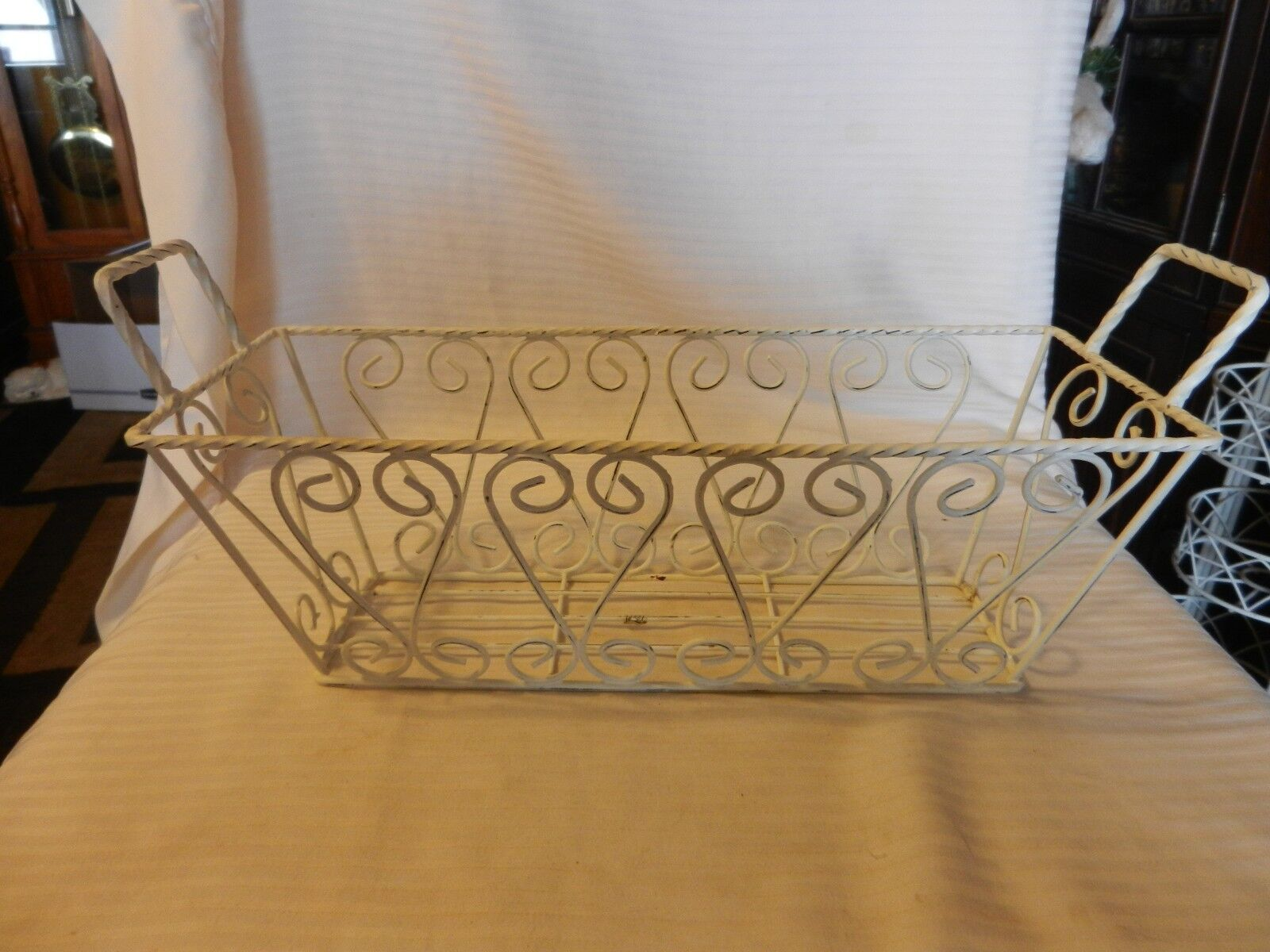 Decorative White Metal Rectangular Basket With Handles, Wire Design