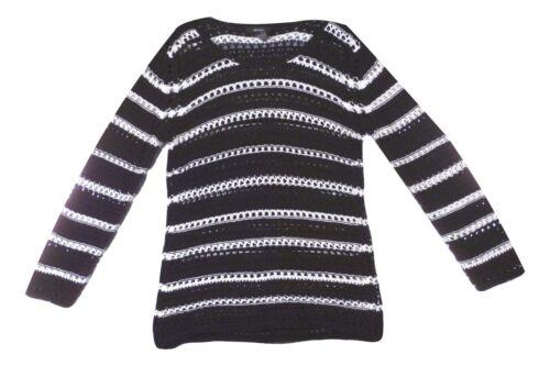 Alfani Size XLarge Black White Striped Open Crochet Long Sleeve Sweater NEW