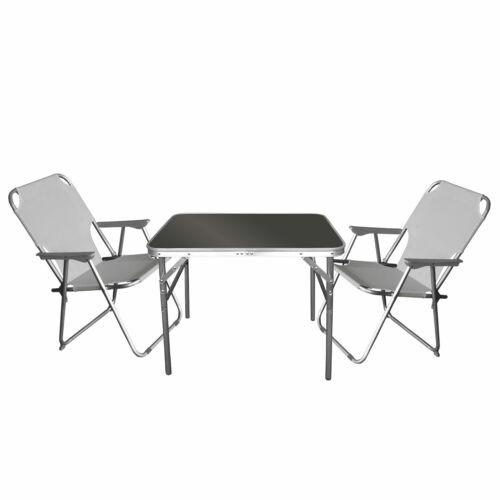 3tlg mobili da campeggio-set salotto campeggio tavolo 75x55cm 2x SEDIA PIEGHEVOLE GRIGIO CHIARO