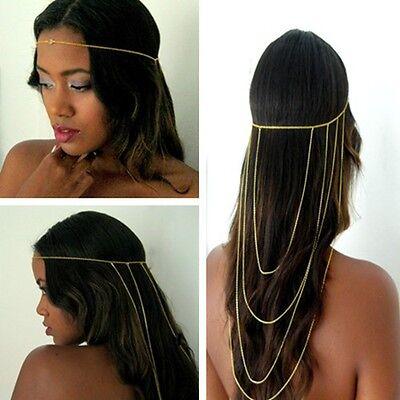 Chic Celebrity Tassel Wave Chain Back Head Jewelry Headband Headpiece Hair Band