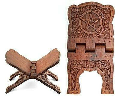 "13"" Pentacle Carved Wood Book of Shadows Holder!"