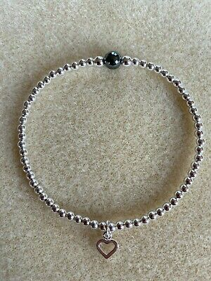 Sterling Silver Bracelet Bubble Bead  Charm Boho Noodle Bead Heart I Love You