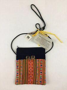 NWT-Vintage-Fabric-Cross-Body-Women-039-s-Handbag-Multicolor-Denim-Zip-Top-Handmade