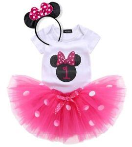 Vestido bebé niña Minie Mouse- primer cumpleaños.Tutú rosa. Disney. Smash cake