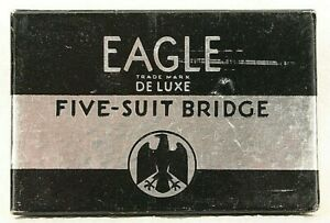 Vintage-Playing-Cards-Eagle-Deluxe-Five-Suit-Bridge-INCOMPLETE-Poker-Deck-Game