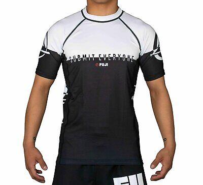 New Fuji Inverted MMA BJJ Jiu Jitsu ShortSleeve Short Sleeve SS Rashguard  White