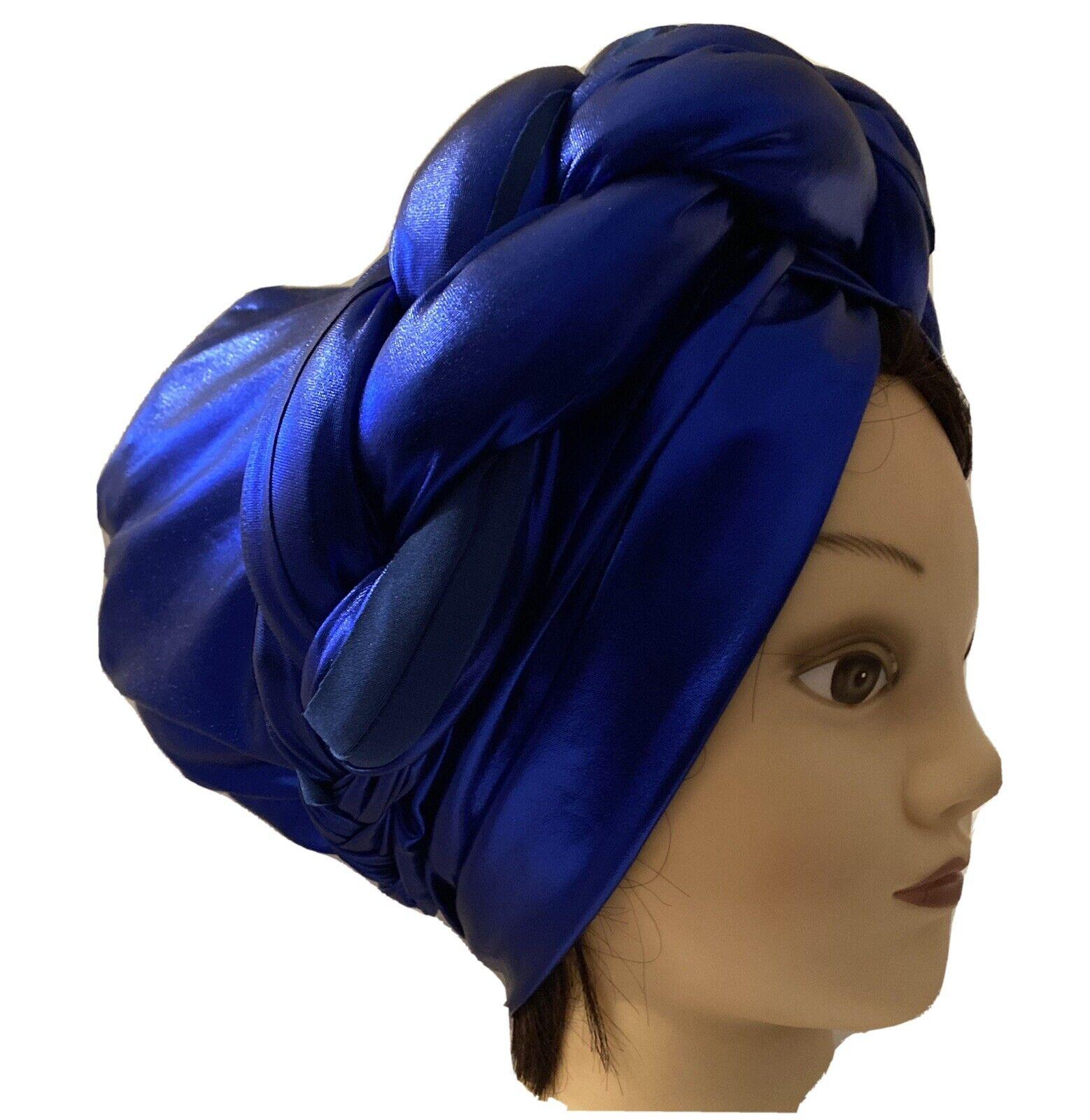 African Women Elegant Turban cap auto gele Dark Blue turban