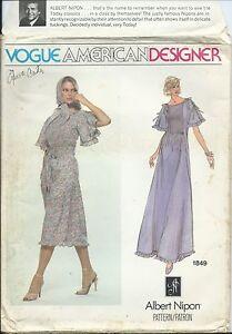 Vogue-1849-sewing-pattern-70-039-s-boho-DRESS-trendy-SCARF-sew-Albert-Nipon-size-10