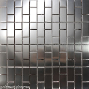 Image Is Loading 1sf Stainless Steel Brushed Nickel Pattern Mosaic Tile