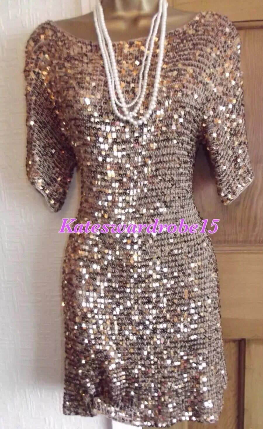 Vintage 20's Style ️  gold Sequin Gatsby Flapper  Dress Party Size L 16