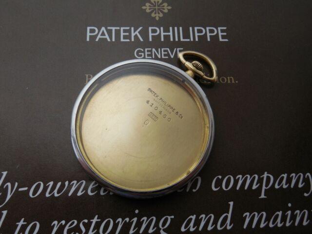 18K SOLID GOLD & PLATINUM ANTIQUE PATEK PHILIPPE POCKET WATCH CASE TIFFANY DIAL