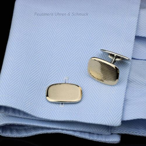 Manschettenknöpfe Rusch Silber 835 585 Goldfront 0,5mm 1930er 20 x 14mm Art Deco