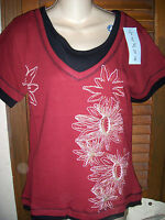 Venusnwt's Sz L burgundy  Short Sleeve W/black Double Layer Thermal Short Sl