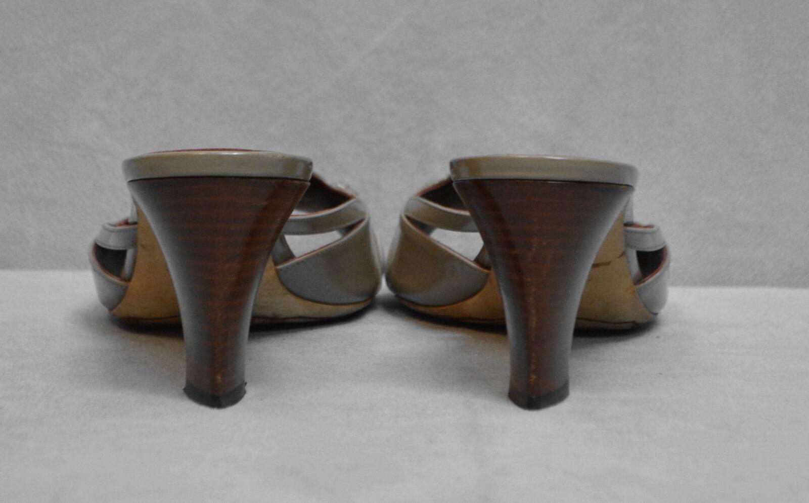 B6 Auth CELINE Grey Patent Patent Patent Leather Logo Buckle Slide Sandal Heels shoes Sz 39.5 f95824