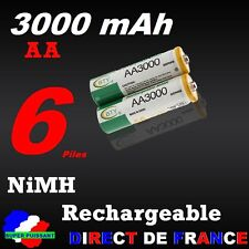 6 Piles rechargeables AA Ni-MH 3000 mAh 1.2V LR06 Mignon DIRECT de France