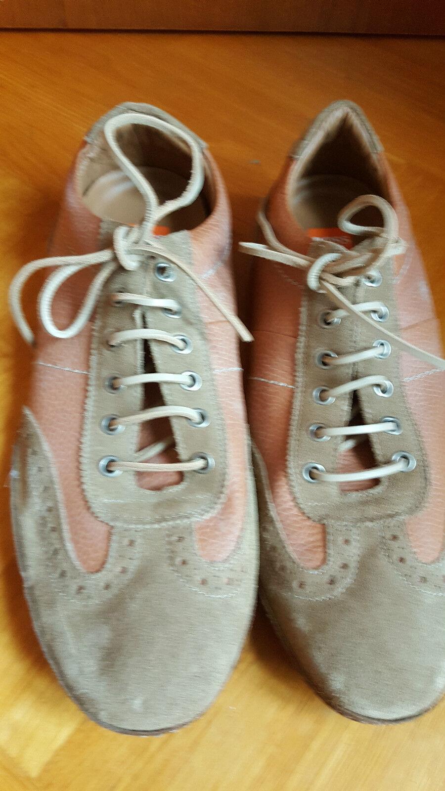 Nuevo jefe de diseño zapatillas deporte cortos de cuero marrón crema us 11.5