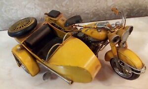 Harley Davidson Étain de moto avec fauteuil roulant Collection de modèles vintage de Sidecar