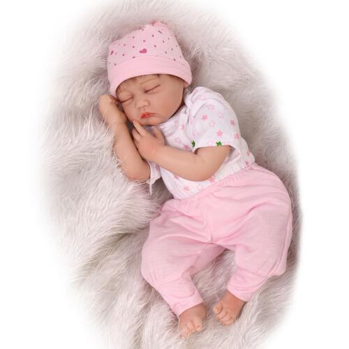 Reborn Baby Doll Soft Silicone Girl Toy 22inch 55cm Pink Star Eyes Close