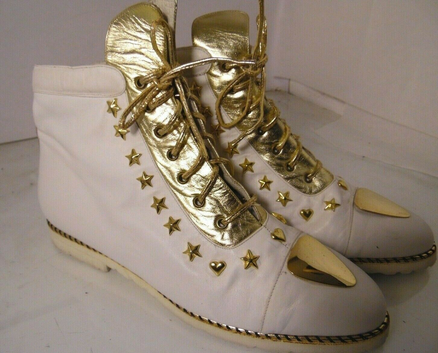 Vintage Enzo of Rome White gold Sneakers Hi Top Womens Size 10