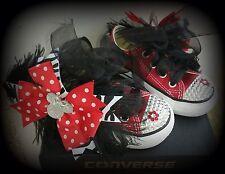 Converse bling diamonds rhinestone Red Minnie Bow 5 6 7 8 girl shoes custom NEW