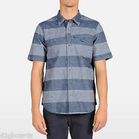 Volcom Cambro S/s Mens Shirt M Medium Button Down Collared Blue Je220