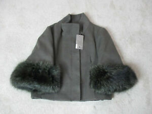 NEW-Yes-London-Jacket-Womens-Large-Size-10-EUR-44-Green-Fur-Button-Front-714