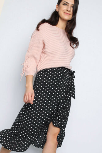 Women Ladies Lace-up Sleeve Knitted Jumper Round Neck Party Fashion Top