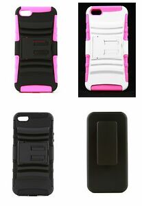 Apple-iPhone-5-5S-SE-Monster-Grip-Dual-layer-3-in-1-Case-amp-Holster-kickstand