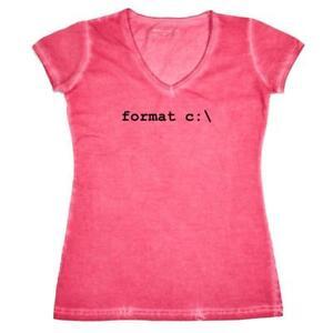 Damen-T-Shirt-V-Ausschnitt-Format-C-Windows-Informatiker