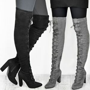 Womens Ladies Thigh High Over The Knee Boots Lace Up Block Heels ... 3a0d2c289