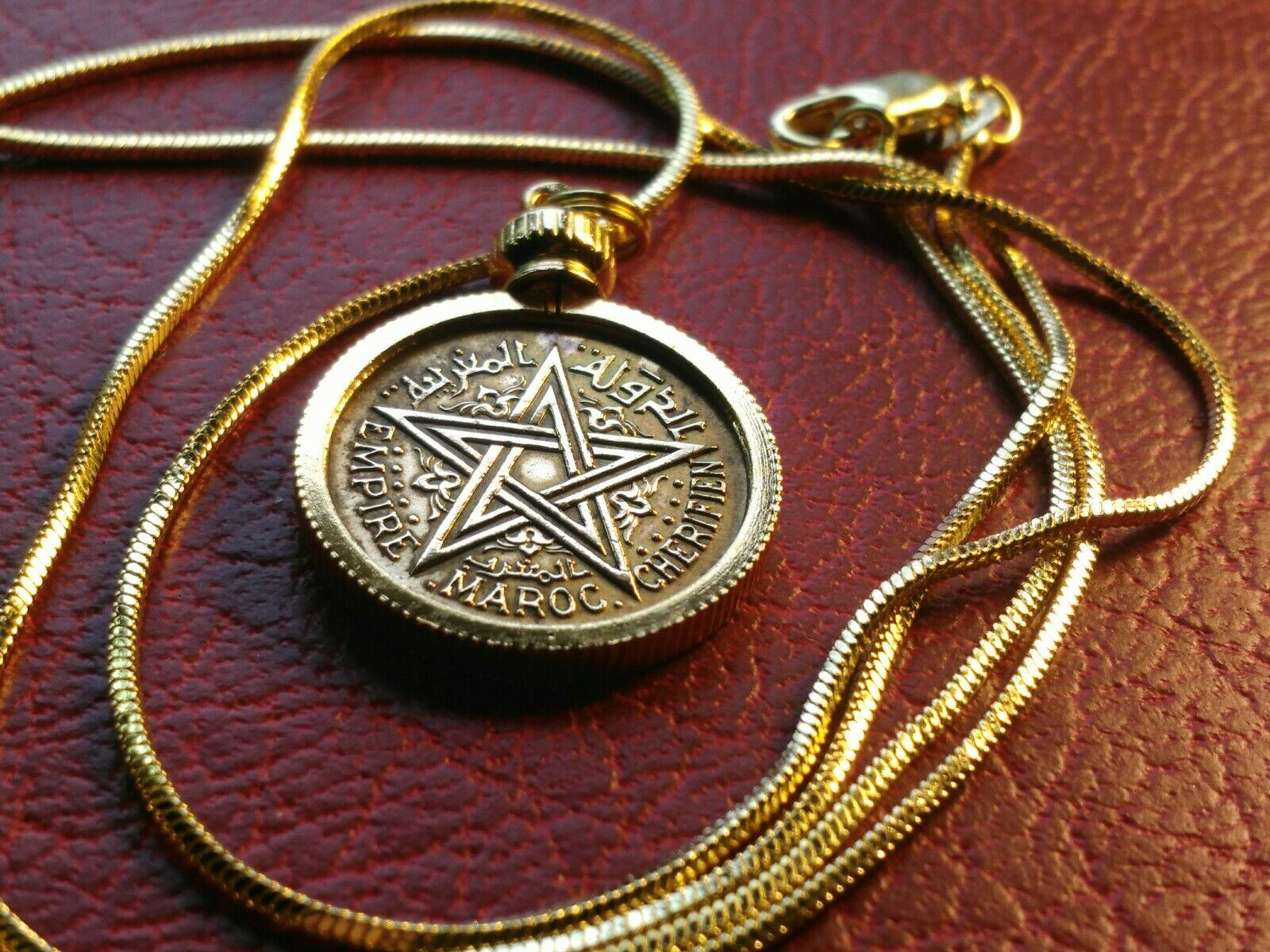 Morrocan Eastern Star 1945 Coin & Setting on a 26  18K gold Filled Snake Chain
