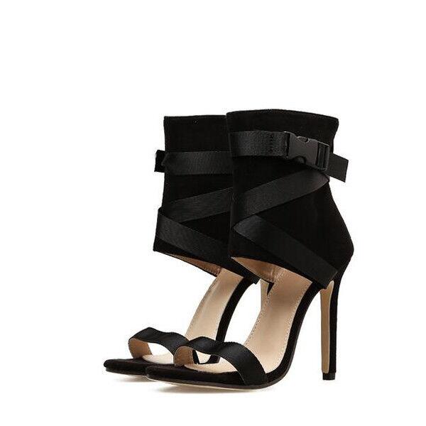 Sandale stiletto eleganti tacco 12 cm  nero  simil pelle eleganti 1029