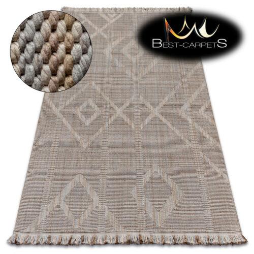 MODERN SISAL RUG /'NATURE/' diamonds beige BOHO fringe hard-wearing EASY CLEAN