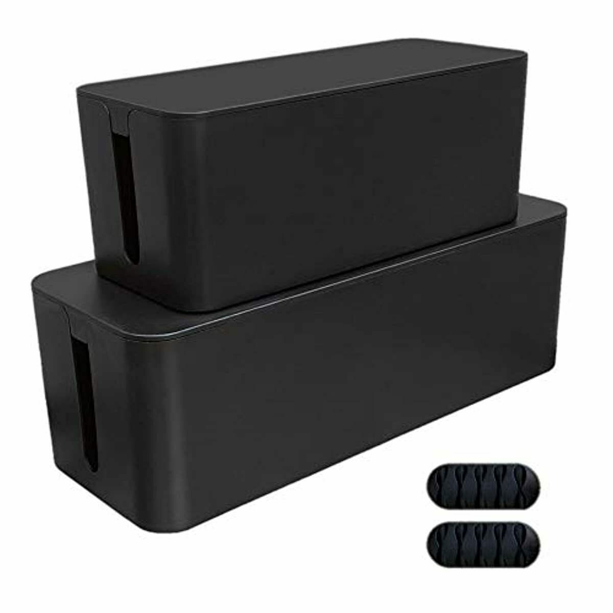 Cable Management Box, 2 Boxes with Free 2x Cable Clip and Tie, Power Board Organ