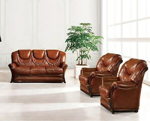 Details about Bella Luxury Brown Italian Leather Sleeper Sofa & 2 Chairs  3pc Set Carved Wood