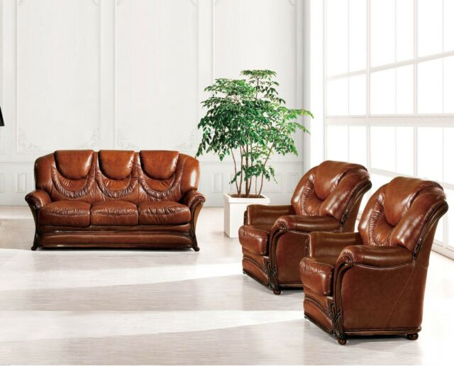 Bella Luxury Brown Italian Leather Sleeper Sofa & 2 Chairs 3pc Set Carved  Wood