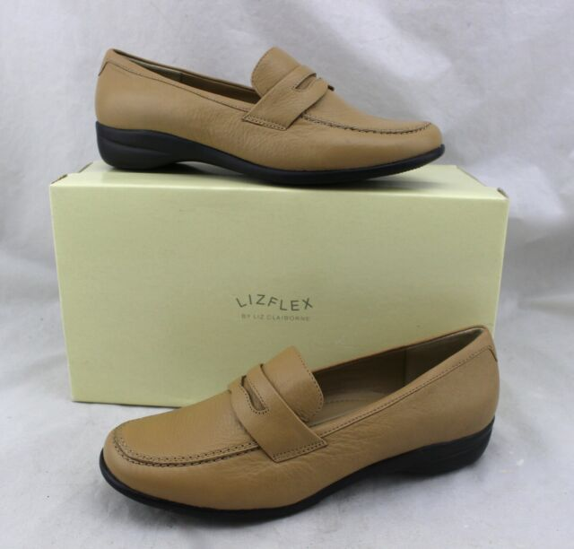 LIZ CLAIBORNE Liz Flex Astor Taupe Imperial Tan Leather Loafers Flats Shoes 6