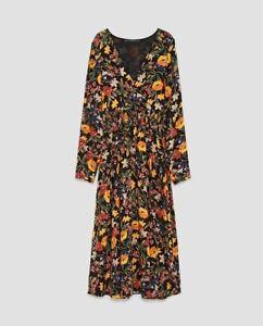 f314fa3be55 Zara Women Midi Floral Dress With Crossover V-Neck Size M NWT | eBay