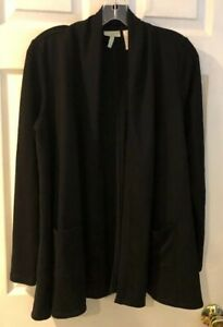 LOGO-Lounge-by-Lori-Goldstein-French-Terry-Cardigan-w-Thermal-Sleeves-Black-XS