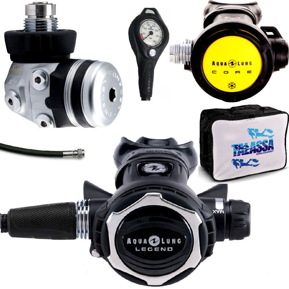LO3 09 kit REGULATOR AQUALUNG LEGEND LX ACD DIN 300 BAR + octopus Core + gauge