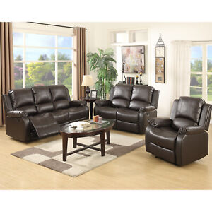 Details about Leather Recliner Sofa Set Sectional 3+2+1 Seater Chaise  Loveseat Couch Furniture