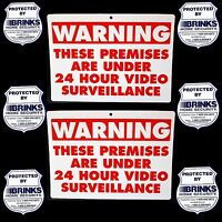 2 Warning Home Security Cameras Yard Signs+6 Brinks Adt Alarm Window Stickers