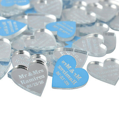 Personalized Engraved Mirror Love Heart Wedding Table Centerpieces Decor*40Pcs